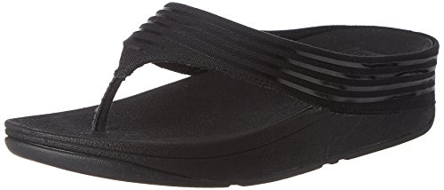 FitFlop Womens Ringer Toe-Post Textile Sandals Black