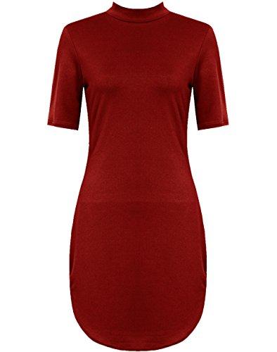 Desire Clothing robe à manches courtes Polo Col Roulé incurvé Tunique robe Midi 8-26 Bordeaux