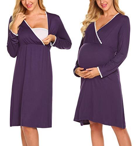 MAXMODA Damen Umstandskleid Nachthemd Schwangerschaft Umstandskleider Still-Nachtwäsche Stillkleider Spitzenkleid Umstandsmode Kleid V-Ausschnitt mit Langarm Lila M