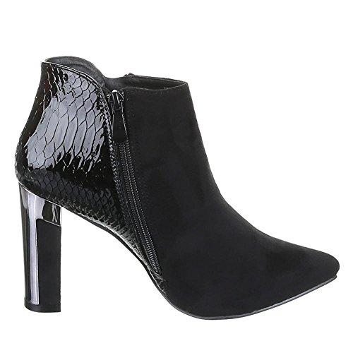 Ital-Design, xq321, Ankle Boots Bottines pour femme Noir - Noir