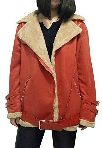 Damen Winter Stylish Schaffell Wildleder Leder Zipper Mantel Jacke Rot M (Stich-detail-jumper)