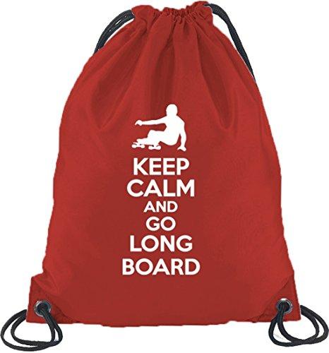 Keep Calm And Go Longboard, Skateboard Turnbeutel Rucksack Sport Beutel, Größe: onesize,Rot -