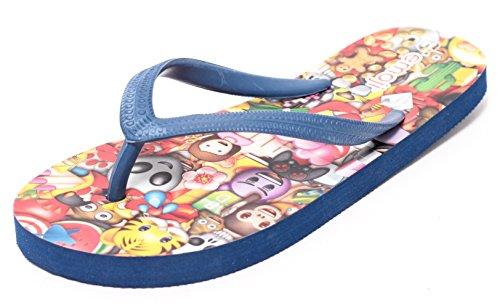 Emoji Sandale Pantolette Badepantolette Badesandale Zehengreifer Schuhe Unisex für Jungen Mädchen Gr.30-35 Navy blau bunt (34)