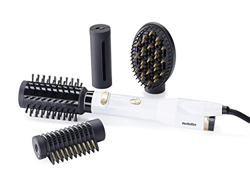 Babyliss AS545E Rotierende Warmluftbürste Set Brush & Style Sensitive Ionic White & Gold, 650 W