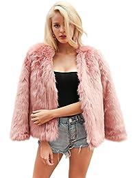 Simplee Apparel Women 's Autumn Winter Warm Fluffy Faux Fur Coat Jacket Outerwear