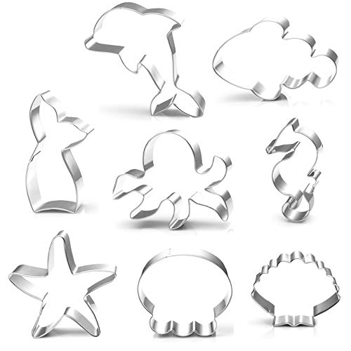 Anokay 8tlg Fondant Ausstecher Ausstechformen Muschel Stern Seepferdchen aus Edelstahl für Tortendeko Backen Zubehör