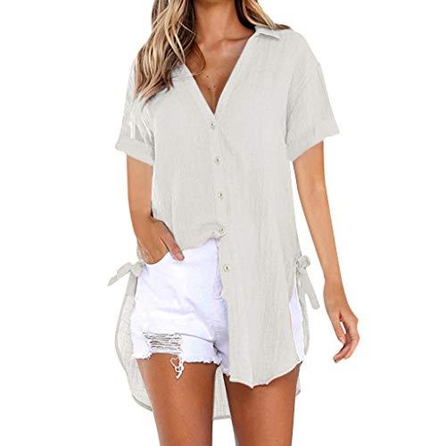 Momoxi Damen Sommer Loose Button Long Shirt Kleid Baumwolle Casual Tops T-Shirt Bluse Frauen Fashion Top Tank Button Kurzarm Shirt Abendkleider Damen Schuhe unterwäsche Dessous Khaki L -