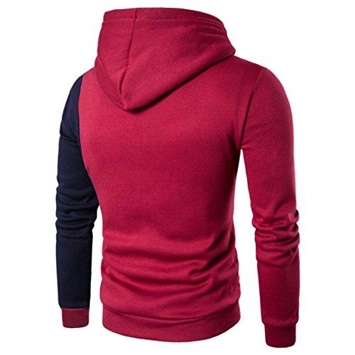 Felpa Uomo, Reasoncool Gli uomini di periodo colore del mantello maglione con cappuccio Rosso