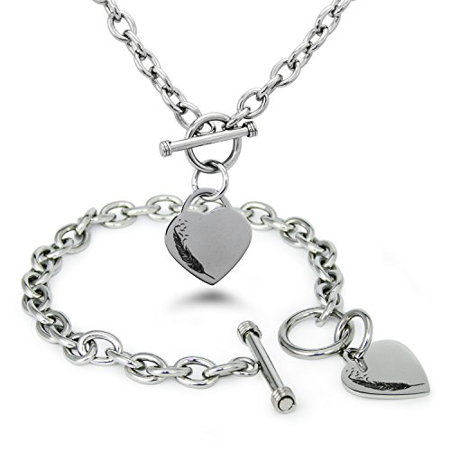 edelstahl-feder-vogel-gravierte-herz-charme-armband-halskette-set