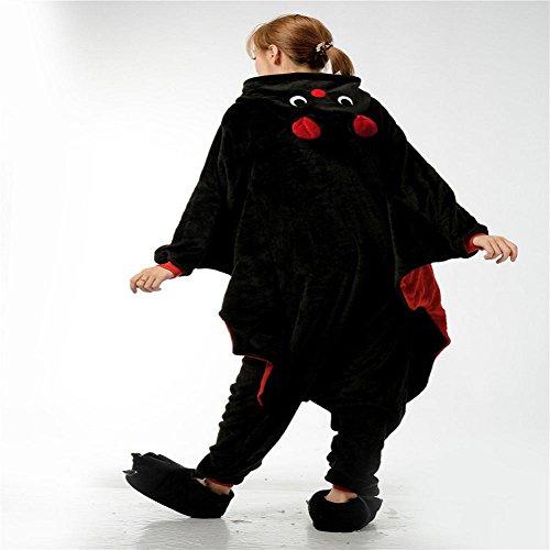DMMSS Flanelle Adulte Neutre Siamese Pyjamas Couple Thickening Animal Cosplay Costume Pyjamas Set Black
