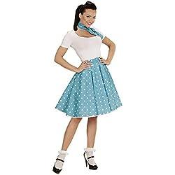 WIDMANN 01080-50s Chica Rock'n'Roll, Lunares falda y pañuelo, turquesa, talla única