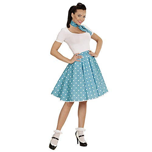Widmann 01080 - Erwachsenenkostüm, 50s Rock'n'Roll Girl, Polka Dot Rock und Halstuch (Halloween Rockabilly Happy)
