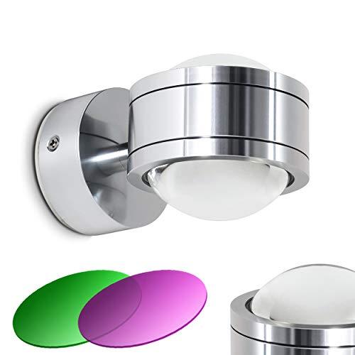 LED Wandleuchte Indore mit magenta und grünem Farbfilter 2 x 3 Watt - 300 Lumen - 3000 Kelvin