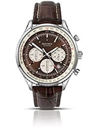 Sekonda Men's Quartz Watch with Brown Dial Chronograph Display and Brown Leather Strap 3407.27