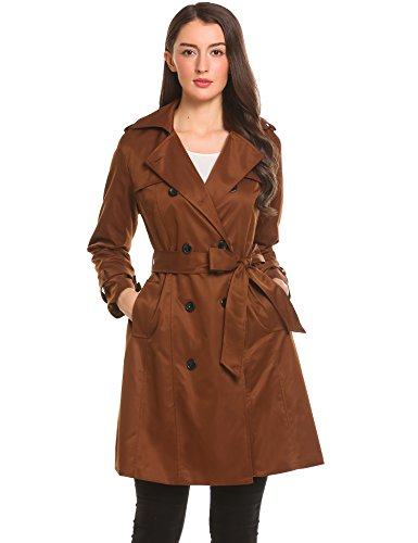 Zeela Damen Klassischer Doppel-breasted Trenchcoat mit Gürtel Langer Warmer Mantel Übergangsmantel (Reverskragen-mantel Fell)