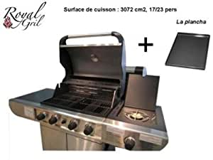 barbecue en inox gaz 5 bruleurs plancha grill cuisine maison. Black Bedroom Furniture Sets. Home Design Ideas