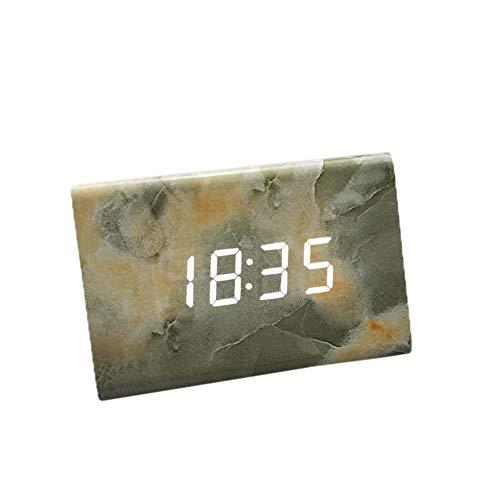 R/éveil en bois Horloge num/érique Triangle LED Alarme en bois Horloge de bureau date et temp/érature Bureau de contr/ôle tactile de la voix R/éveil pour enfants Ados Accueil Chambres Noir