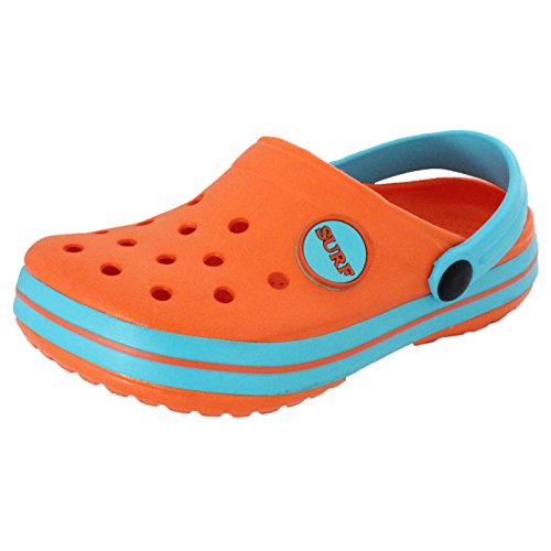 Childrens IAM Surf Unisex Boys Girls Beach Clogs Mules Sandals Slip On Shoes (UK 12, Orange)