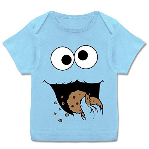 Karneval und Fasching Baby - Keks-Monster - 80-86 (18 Monate) - Babyblau - E110B - Kurzarm Baby-Shirt für Jungen und Mädchen in verschiedenen Farben