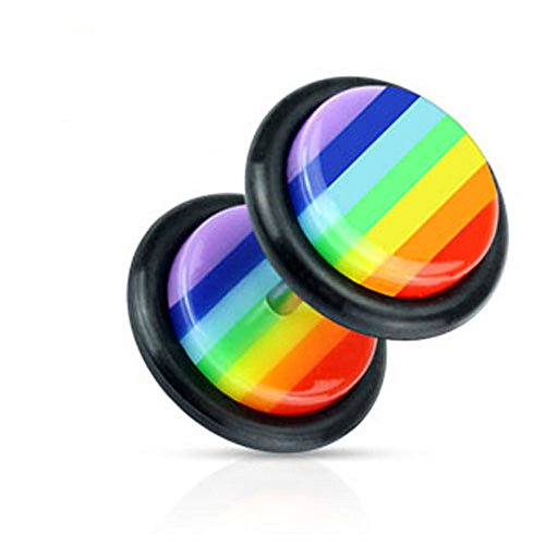 Pair of 16 Gauge 8mm Face Gay Lesbian Pride Rainbow Fake Plug Fake Taper E44 by Blue Palm Jewelry - Plugs