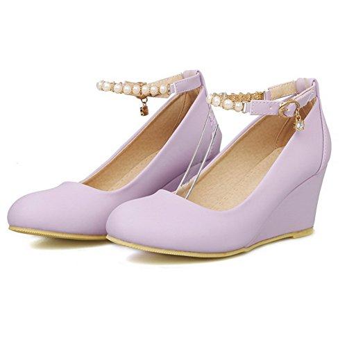 VogueZone009 Femme Couleur Unie Pu Cuir à Talon Correct Fermeture D'Orteil Rond Boucle Chaussures Légeres Violet