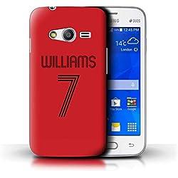 eSwish Personnalisé Kit Maillot Football Foot Personnalisé Coque pour Samsung Galaxy Trend 2 Lite/G318 / Rouge Noir Design/Initiales/Nom/Texte Etui/Housse/Case
