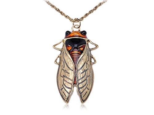 Bug Gold Kostüm - Alilang Antique Gold-Ton orange Vintage Insekt-Fliegen-Beetle Bug-Anhänger-Halskette