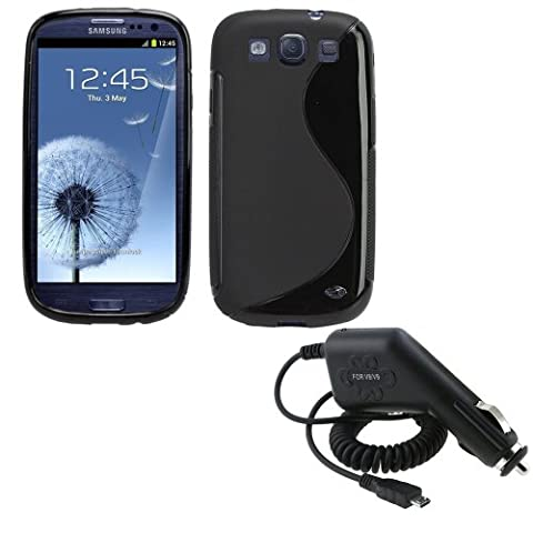 Fosmon Black S-Curve Soft Shell TPU Case + Micro USB Car Charger for Samsung Galaxy S3 III i9300