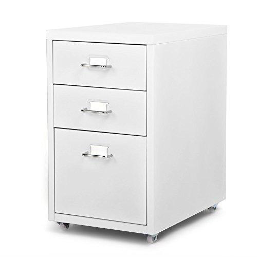 Ikayaa- armadietto spogliatoio, armadio ufficio, cassettiera per mobile in acciaio rimovibile con cassetti in metallo 3 cassetti e 4 rotelle (bianco)