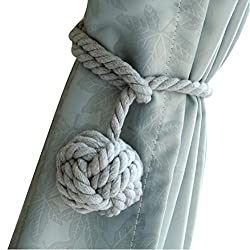Do4U A Pair Hand Knitting Curtain Rope Clips Holder Holdbacks Curtain Tieback with Single Ball (Gray)
