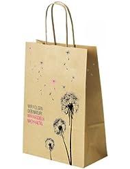 Bolsa de papel - Flor diente de león - con cordón de papel retorcido