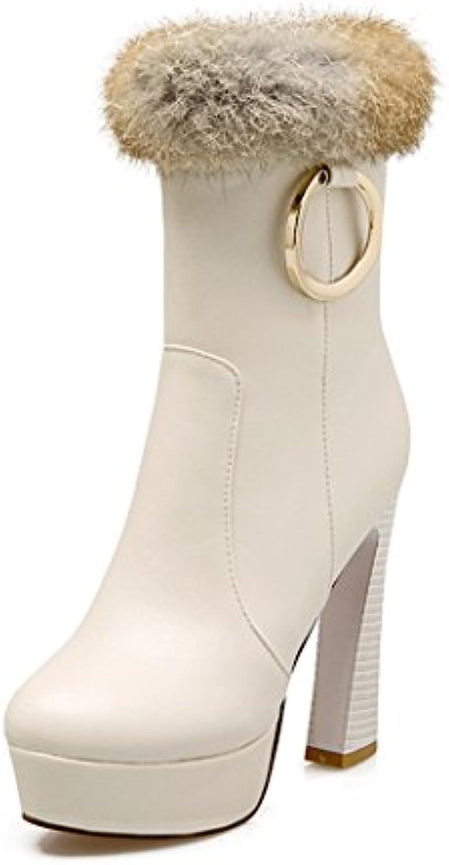 ZQ@QXEl otoño y el invierno el anillo de metal botas de tacón chunky tamaño zapatos botas,Blanca,35