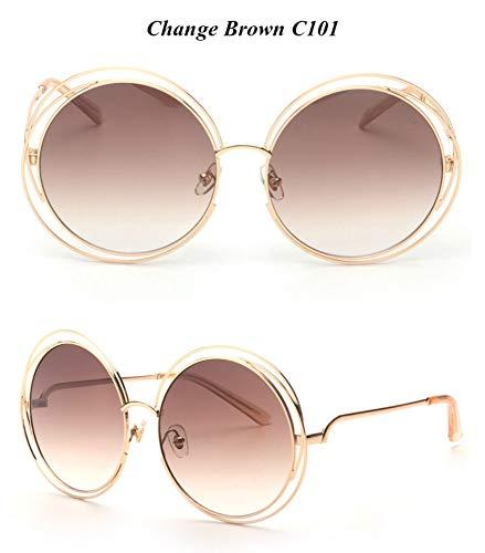 WDDYYBF Sonnenbrillen, Casual Comfort Runde Wire Frame Beschichtung Intage Fgrayion Sonnenbrille Frauen U 400 Farbverlauf Hellbraun