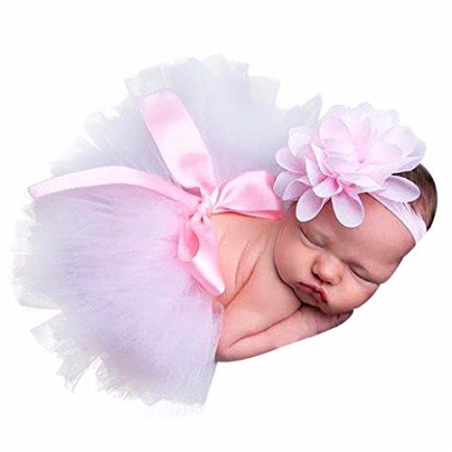 Prinzessin Schwan Kinder Kostüm - Tutu Rock Outfits Blume Stirnband Set Hirolan Neugeborenes Baby Mädchen Jungen Kostüm Fotografie Stütze Outfits Foto Stütze Stretchfolie Baby Fotografie Wickeln Stütze (Rosa)