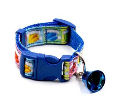 SPORER Hundehalsband, fmji Pet Geschenke Verstellbar Nylon Süsse Haustier Halsbänder mit Trompete Bell für Weihnachten/Festival/Party, Blau, Large