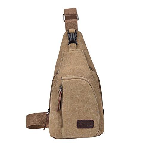 Trendige Military Fashion (Lässige Canvas-Umhängetasche | Schultertasche | Crossbody Bag | Messenger Bag für Herren im Travel/Hobo Style mit Kunstleder-Applikationen (Khaki))