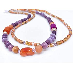 Doppelreihige Designer Edelstein Kette in orange und violett