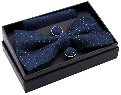 Retreez Herren Gewebte vorgebundene Fliege Textur Karo 13 cm und Einstecktuch und Manschettenknöpfe im Set, Geschenkset, Weihnachtsgeschenke - marineblau