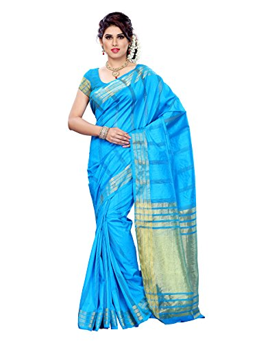 Mimosa Women Tussar Silk Saree With Plain Blouse (Blue ,3175-PRS18-AND)