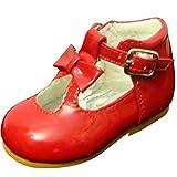 Schuhe für Mädchen, Kleinkinder, glänzend, Lackschuhe, mit Schleife, in spanischem Stil, Weiß/Schwarz/Creme/Pink/Rot, für Party, Hochzeit, rutschfeste Lauflernschuhe 21201, Rot - rot - Größe: 22 EU