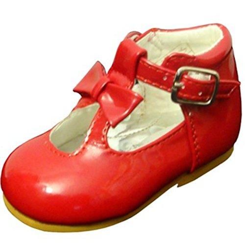 Schuhe für Mädchen, Kleinkinder, glänzend, Lackschuhe, mit Schleife, in spanischem Stil, Weiß/Schwarz/Creme/Pink/Rot, für Party, Hochzeit, rutschfeste Lauflernschuhe 21201, Rot - rot - Größe: 23 EU