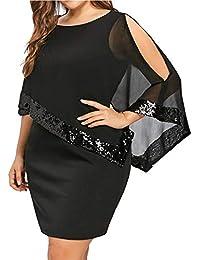 Elegante Paillettes Abito per Donna - Moda Tinta Unita Slim Fit Abiti a  Matita Donne Colletto Tondo A-Line Vestiti in Chiffon… fd7b7329a8b
