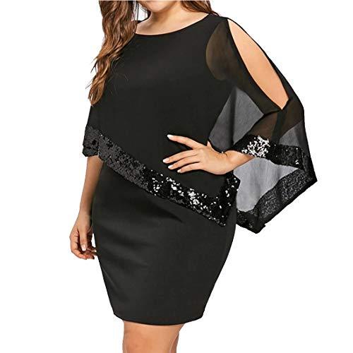 Elegante paillettes abito per donna - moda tinta unita slim fit abiti a matita donne colletto tondo a-line vestiti in chiffon con poncho taglie forti vestito da sera cocktail