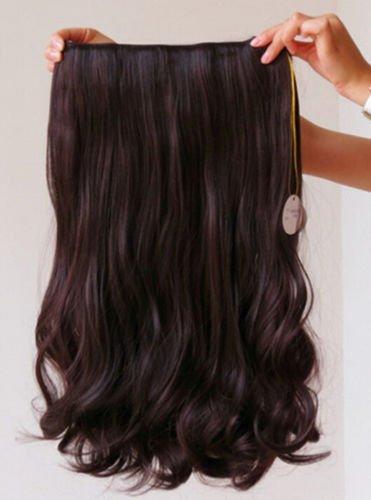 Magik 3/4 Voller Kopf-Haar-Verlängerungen Klipp gerade lockig m / 5 Clips, Lang (Dunkelbraun-Lockig)