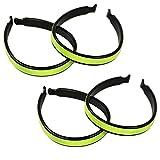 COM-FOUR® 4-teiliges Set Klettbänder mit Reflektor-Streifen + Hosenklammer mit Reflektor Hosen Clip Neon Gelb - sicher, kompakt und leicht (4-teilig Klammern+Bänder)
