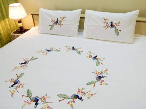 FABRICA FURNISHINGS Fabby Peacock Embroider Cotton Double Bedsheet with 2 Pillow Cover (King Size, White)