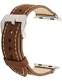 omyzam Apple Watch Correa Correas de reloj de cuero Hebilla de cinturón de acero inoxidable Correa iwatch 38mm Marrón