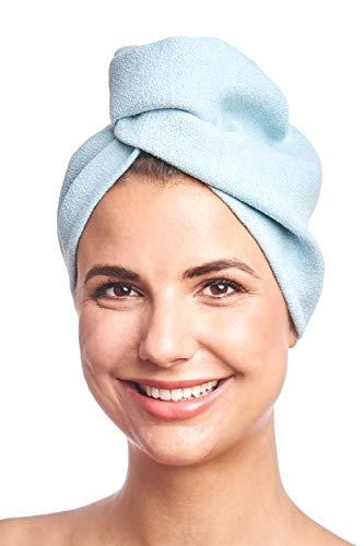 DYNESSE Premium Turban Handtuch mit Knopf. Mikrofaser Haarturban Schnell Trocknend und Saugfähig. Kopfhandtuch für Freihändiges Trocknen von Haaren. Haarhandtuch für alle Haartypen. Haar-turban