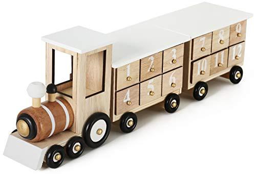 Brubaker - Calendrier de l'Avent - 24 Tiroirs à remplir - Train/Locomotive en Bois - Décoration de Noël - 46 x 9,5 x 10,7 cm - Blanc/Bois Naturel
