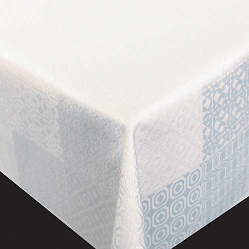 DecoHomeTextil Flair Art Tischdecke Gartentischdecke Polyester-Damast Meterware Weiß Breite & Größe wählbar 140 x 290 cm Eckig wasserabweisend abwaschbar Lebensmittelecht -